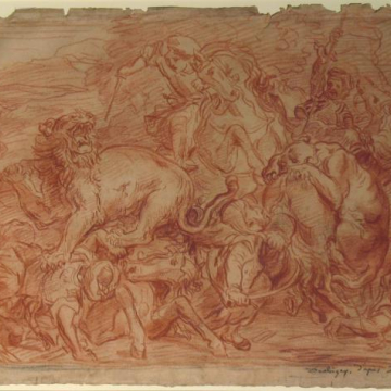 Lion Hunt (after Daubigny after Delacroix)